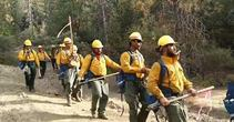 Singing Samoan firefighters lift spirits in fight against California wildfires. Photo by CBS This Morning.