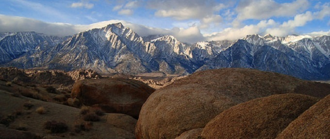 The Alabama Hills rise from the desert and provide a scenic backdrop for the community of Lone Pine, California