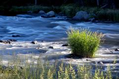 Klamath River flowing in low depth