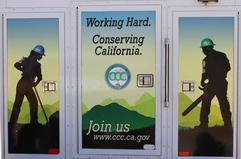"""california conservation crew sign """"working hard."""""""