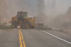 Wildfire impacts to roadways. Photo by CAL TRANS.