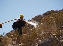 Firefighter in the Californai desert. Photo by BLM.