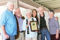 Robin Kobaly accepts the Minerva Hoyt Conservation Award at Covington Park. Photo by Hi Desert Star.