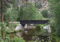 Historic railroad bridge at Hobo Camp trailhead.