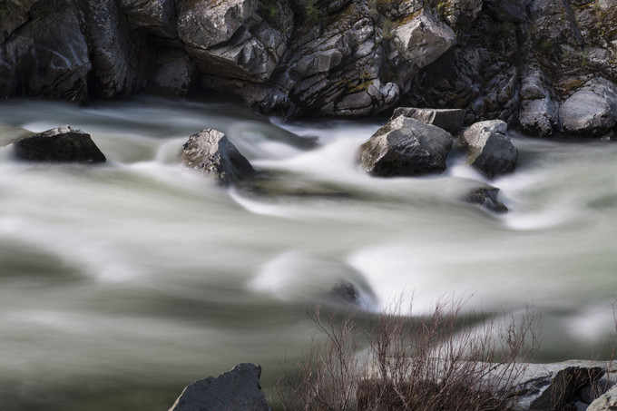 Long exposure of Class IV and V rapids along the Merced Wild and Scenic River segment.