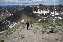 Hikers in a mountain range.