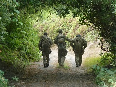 A photo of three agents walking down a forest path.