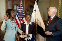 A photo of director Skipwith taken her oath.