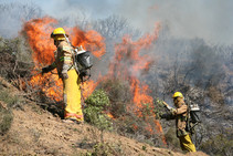 Firefighters battling fires.
