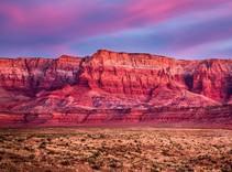 Red cliffs in the desert.
