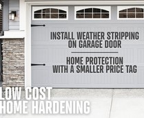 A photo of a garage door with info on it.