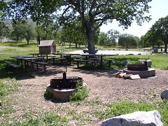 Picnic tables and fire rings.