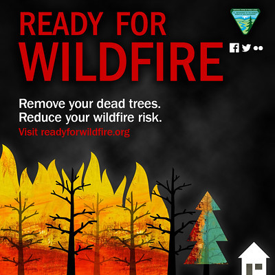 A graphic that reads ready for wildfire.