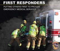 Info graphic photo of EMS personnel by an ambulance and text that reads first responders.