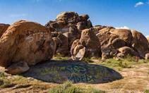 Graffiti on boulders.
