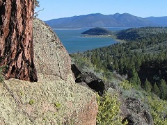 A view of Eagle Lake from above a cliff.
