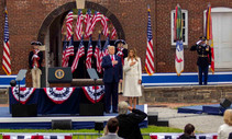 The President and first lady pledging allegiance to the flag.