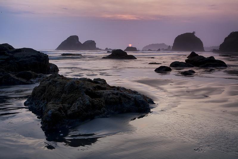 Sunset on a California beach.