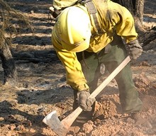 A firefighter digging a fire line.