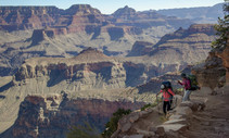 Hikers hiking the grand canyon.