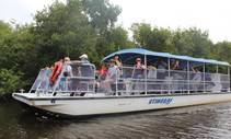 People on a tour boat in a river.