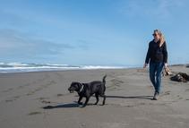A lady walking her dog on a beach.