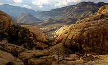 A photo of a desert rock canyon.