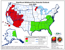 Map showing the July fire outlook