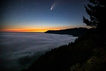 Comet NEOWISE over a sunset on the Lost Coast.