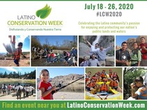 Brochure for Latino Conservation Week with people doing various activities.