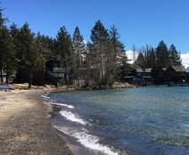 Lake shore with cabins.