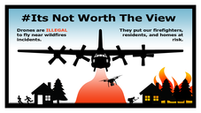 Graphic with drone saying if you fly we cant.