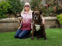 Woman holding a small dog sitting next to a large dog.