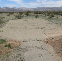 A flat cement guzzler that is dry in the desert.