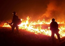Firefighters standing in front of fire.