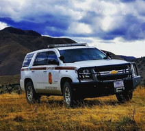 BLM vehicle on a dirt road.