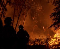 Silhouette of firefighters against a fiery backdrop.