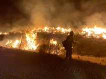 Silhouette of firefighter standing in front of a field that is burning.