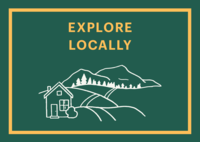 Graphic that says Explore Locally and has a drawing of a house next to a mountian.