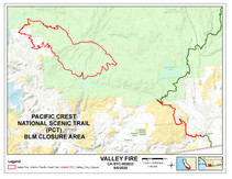 Map of the Pacific Crest Trail closure.