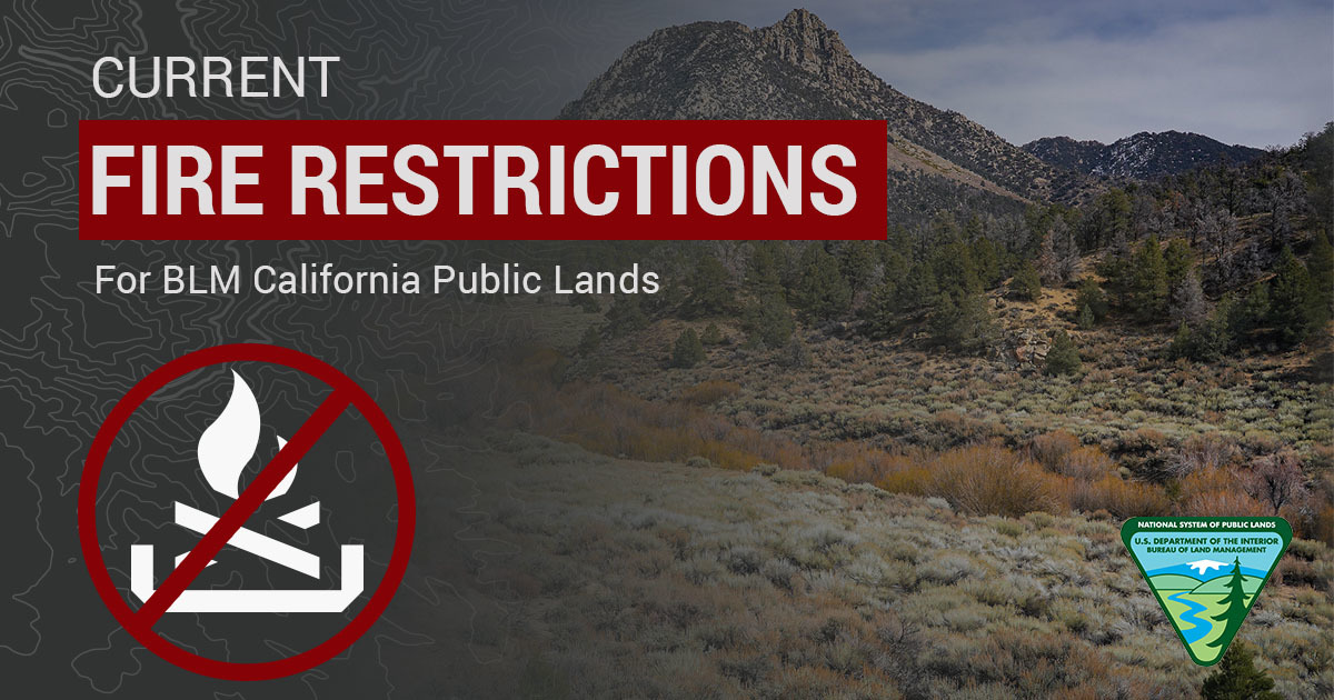 Graphic that says BLM Fire Restrictions on Public Lands