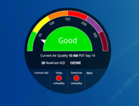 Graphic of a air quality meter that currently shows good air quality.