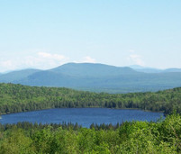 A lake in the middle of a green forest with a mountain range in the background.