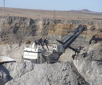 Mining equipment in a mine.