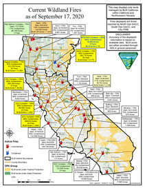 Current wildfire map of California, as of September 17, 2020.