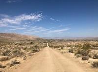 A dirt road in a desert.