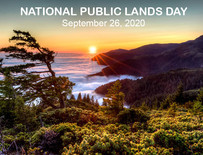 A sunset above a coastal mountain range, with text that says National Public Lands Day September 26, 2020.