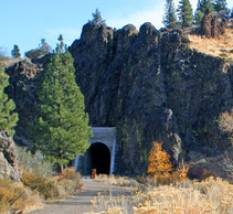 An old railroad tunnel with a bike path through it.
