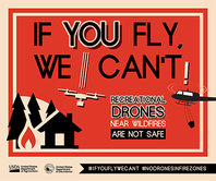 Graphic that says If you fly, we can't!