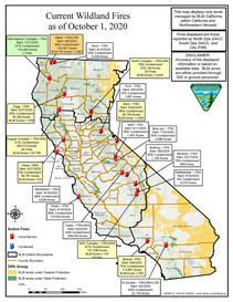 Map of current wildland fires in California, Oct. 1.